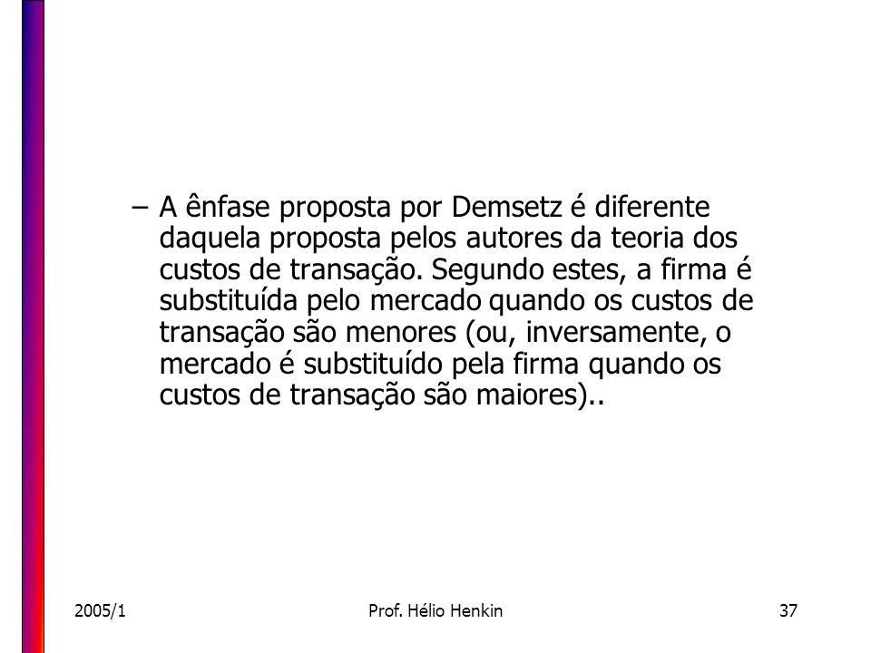 A ênfase proposta por Demsetz é diferente daquela proposta pelos autores da teoria dos custos de transação. Segundo estes, a firma é substituída pelo mercado quando os custos de transação são menores (ou, inversamente, o mercado é substituído pela firma quando os custos de transação são maiores)..