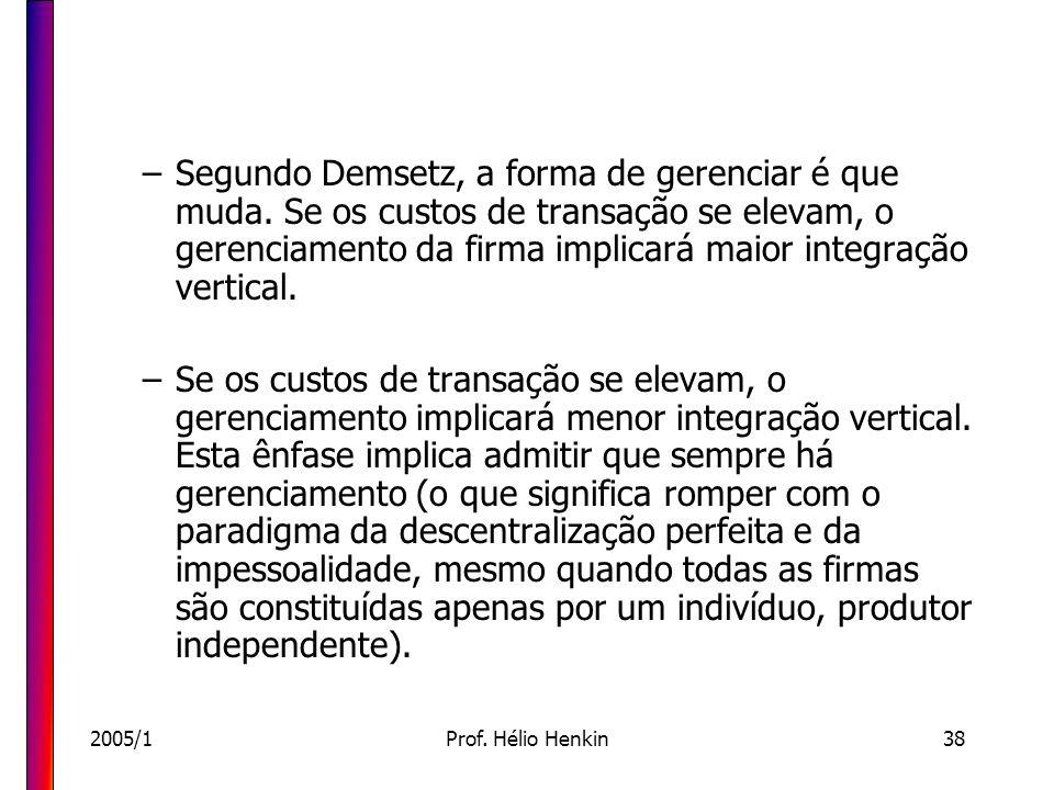 Segundo Demsetz, a forma de gerenciar é que muda