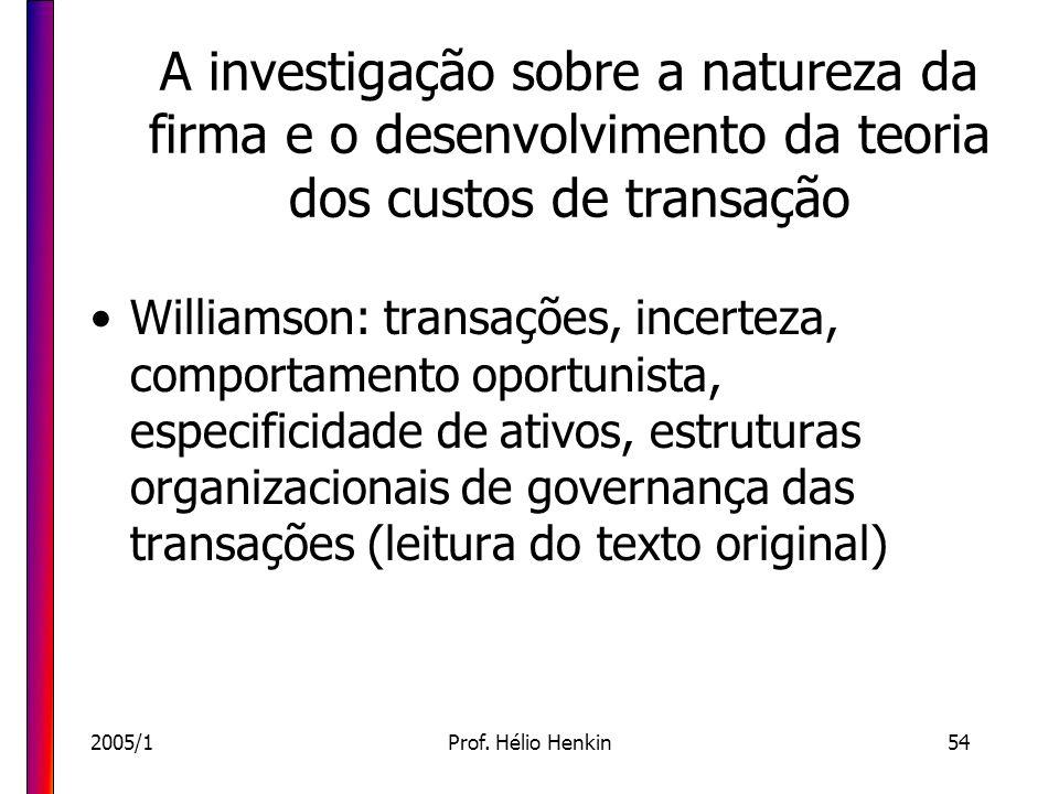 A investigação sobre a natureza da firma e o desenvolvimento da teoria dos custos de transação