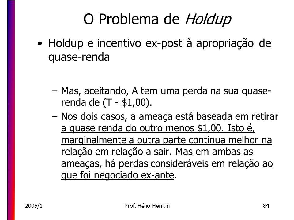 O Problema de Holdup Holdup e incentivo ex-post à apropriação de quase-renda. Mas, aceitando, A tem uma perda na sua quase-renda de (T - $1,00).