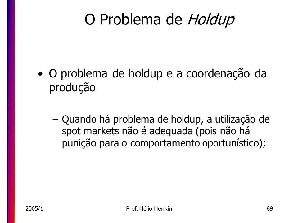 O Problema de Holdup O problema de holdup e a coordenação da produção
