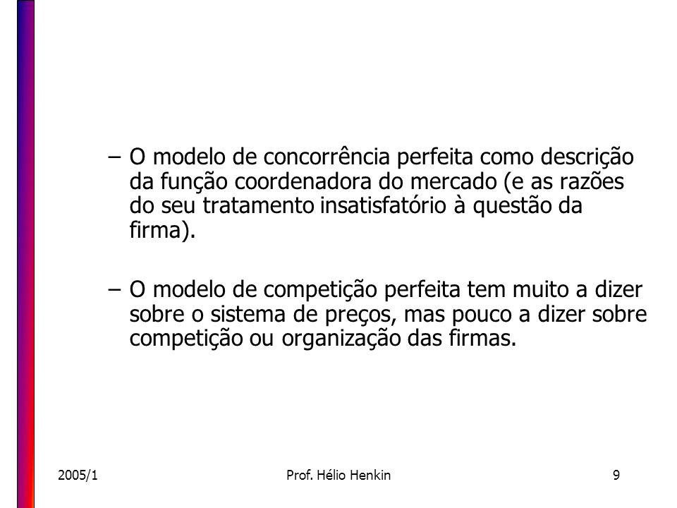 O modelo de concorrência perfeita como descrição da função coordenadora do mercado (e as razões do seu tratamento insatisfatório à questão da firma).