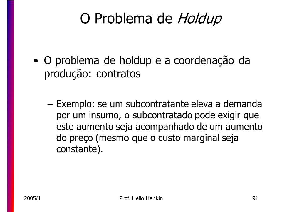 O Problema de Holdup O problema de holdup e a coordenação da produção: contratos.