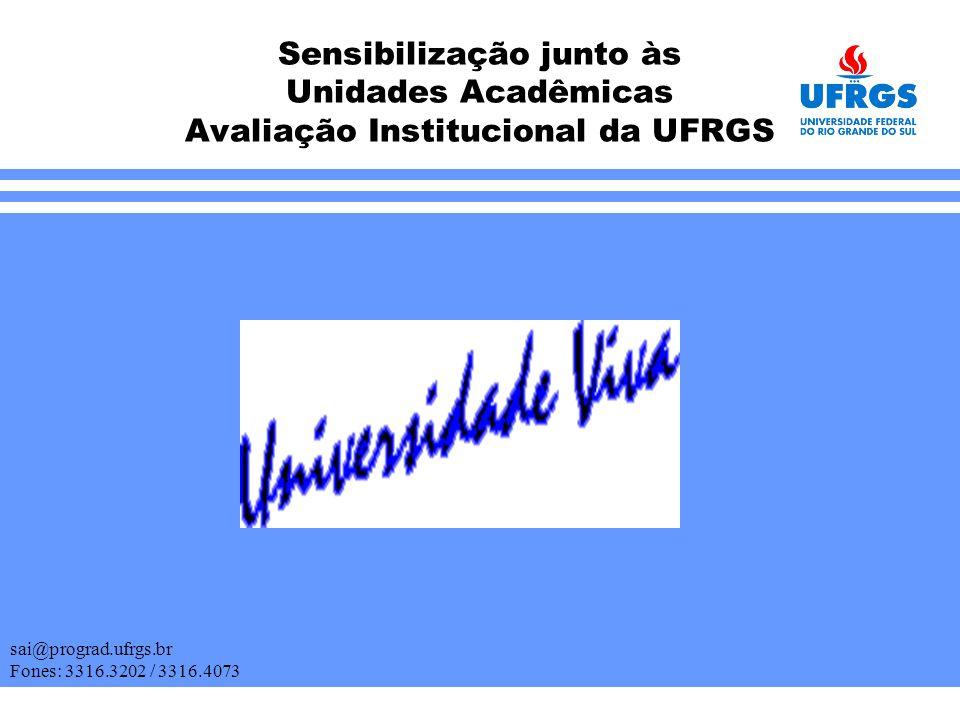 Sensibilização junto às Unidades Acadêmicas Avaliação Institucional da UFRGS