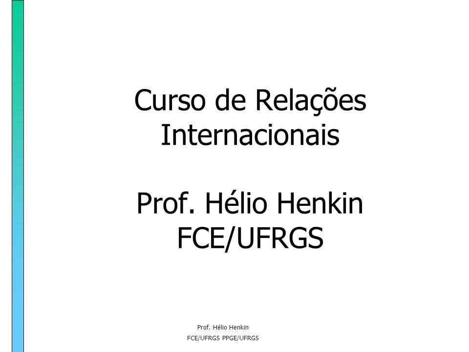 Curso de Relações Internacionais Prof. Hélio Henkin FCE/UFRGS