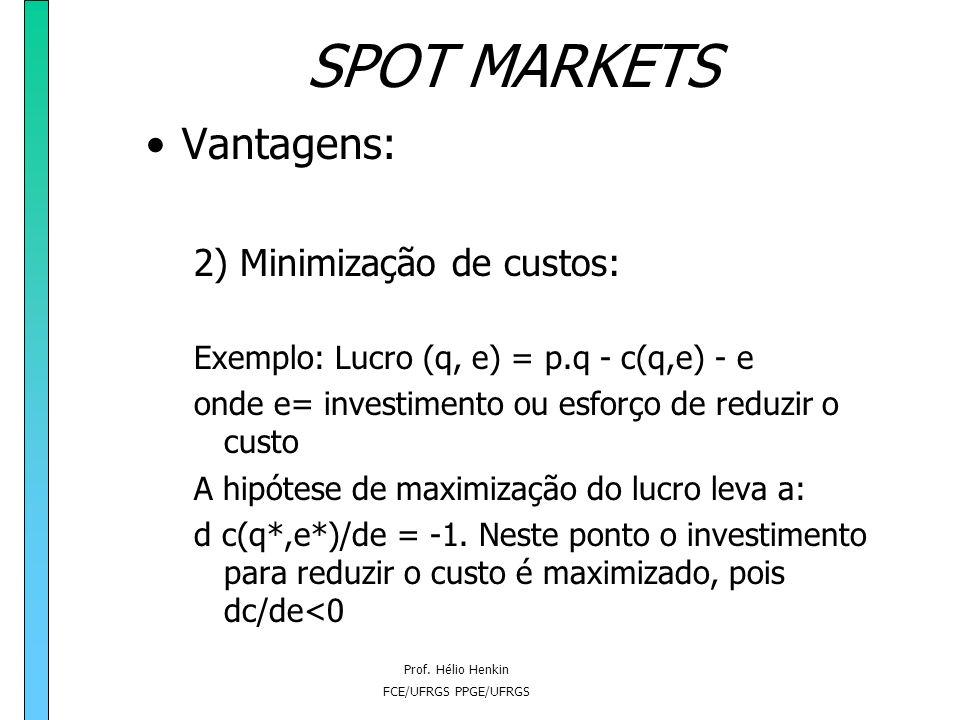 SPOT MARKETS Vantagens: 2) Minimização de custos: