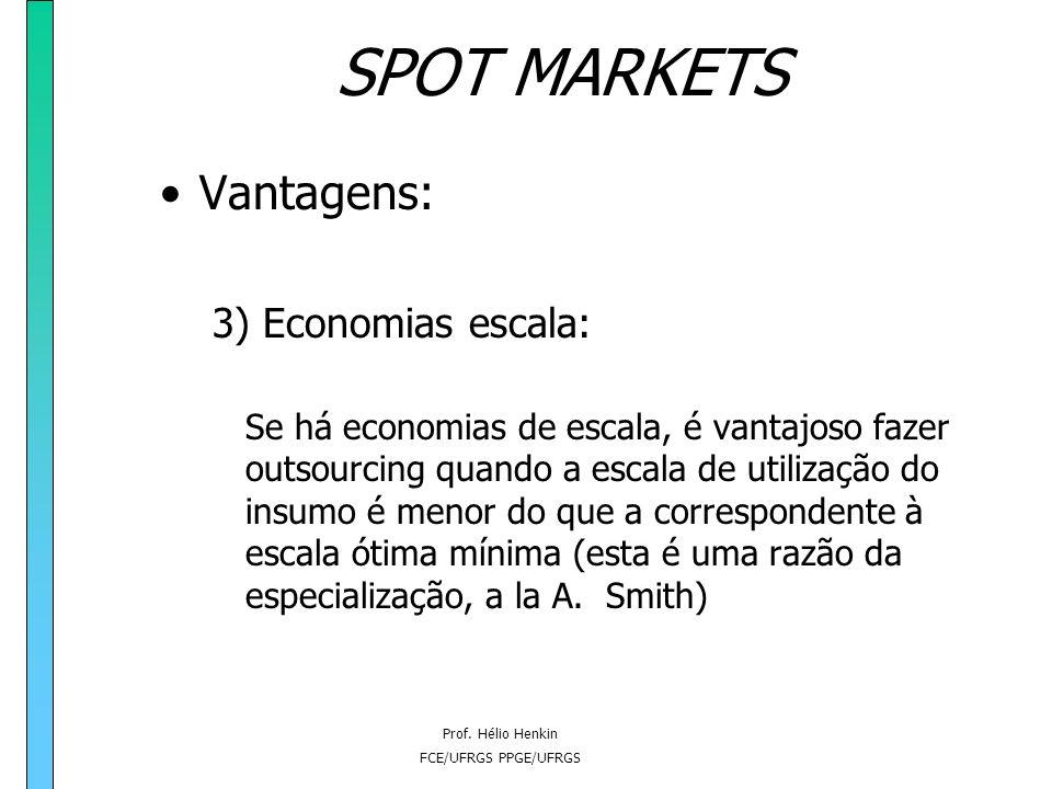 SPOT MARKETS Vantagens: 3) Economias escala: