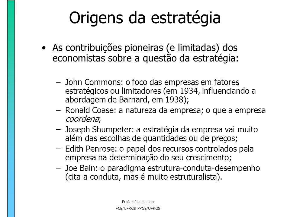Origens da estratégia As contribuições pioneiras (e limitadas) dos economistas sobre a questão da estratégia: