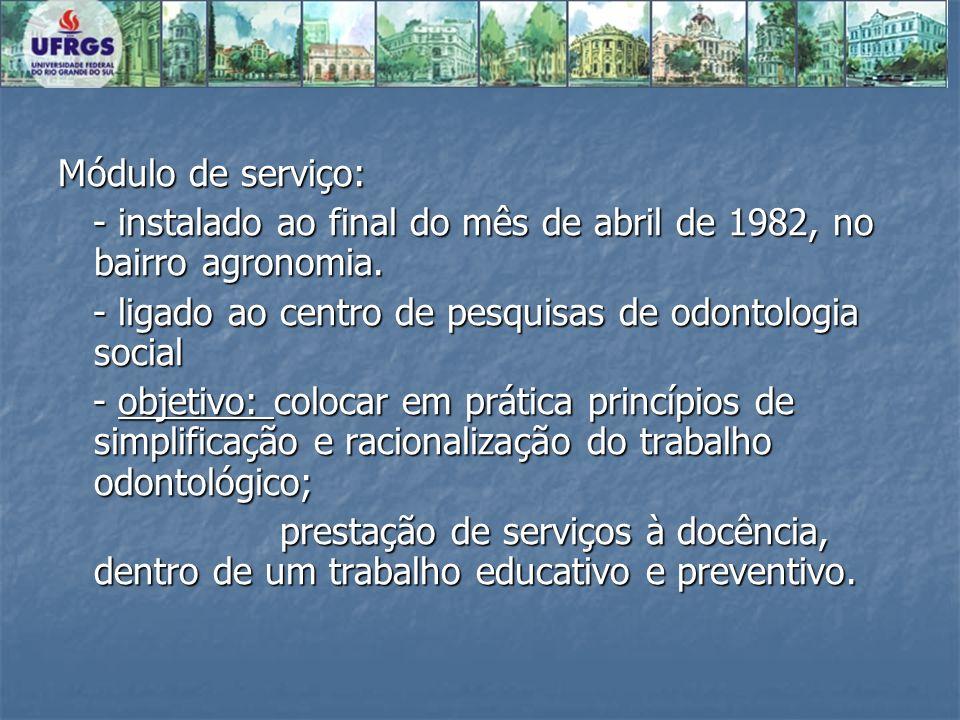 Módulo de serviço: - instalado ao final do mês de abril de 1982, no bairro agronomia. - ligado ao centro de pesquisas de odontologia social.