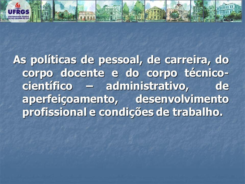 As políticas de pessoal, de carreira, do corpo docente e do corpo técnico- científico – administrativo, de aperfeiçoamento, desenvolvimento profissional e condições de trabalho.