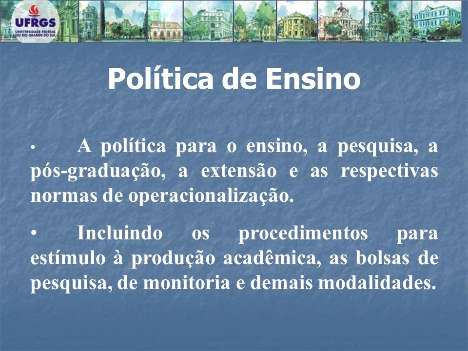 Política de EnsinoA política para o ensino, a pesquisa, a pós-graduação, a extensão e as respectivas normas de operacionalização.