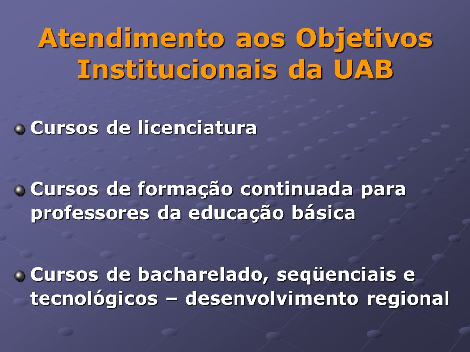 Atendimento aos Objetivos Institucionais da UAB