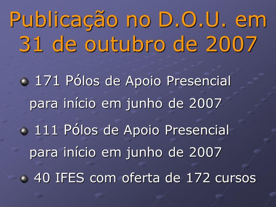 Publicação no D.O.U. em 31 de outubro de 2007