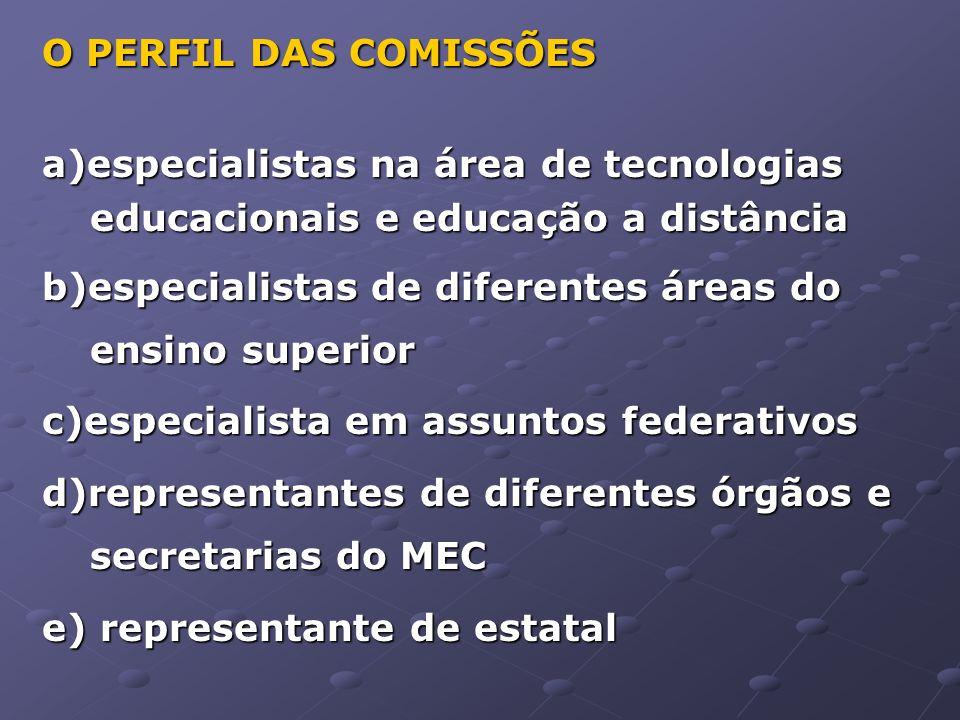 O PERFIL DAS COMISSÕES a)especialistas na área de tecnologias educacionais e educação a distância.