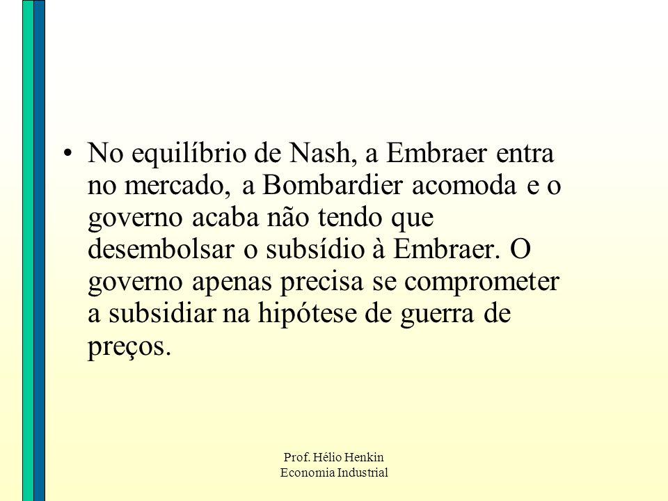 No equilíbrio de Nash, a Embraer entra no mercado, a Bombardier acomoda e o governo acaba não tendo que desembolsar o subsídio à Embraer. O governo apenas precisa se comprometer a subsidiar na hipótese de guerra de preços.