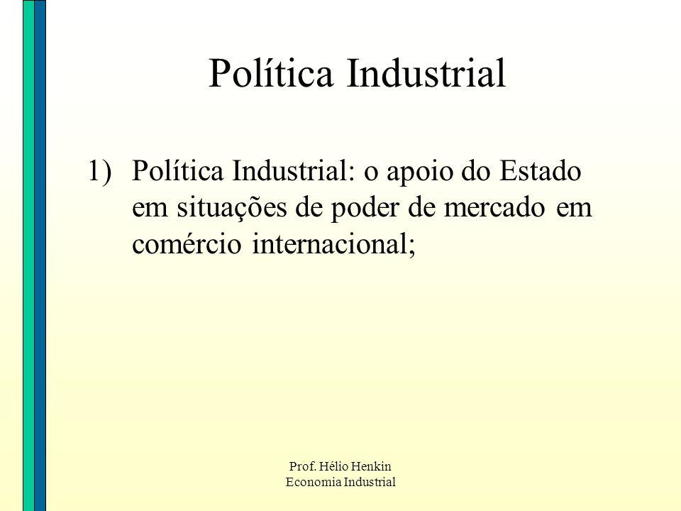 Política Industrial Política Industrial: o apoio do Estado em situações de poder de mercado em comércio internacional;