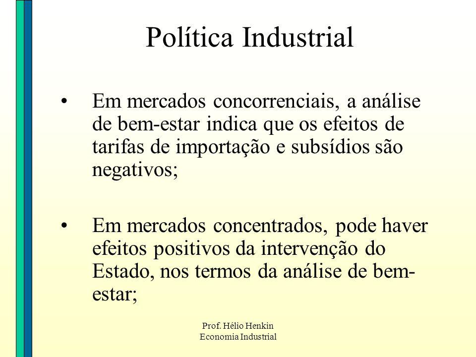 Política Industrial Em mercados concorrenciais, a análise de bem-estar indica que os efeitos de tarifas de importação e subsídios são negativos;