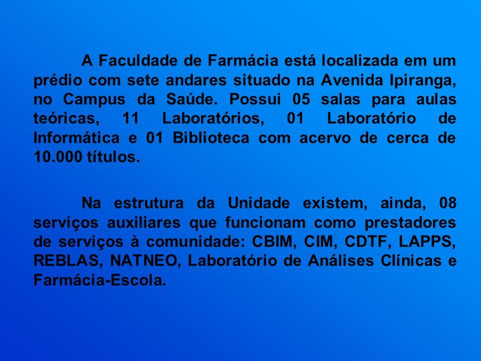 A Faculdade de Farmácia está localizada em um prédio com sete andares situado na Avenida Ipiranga, no Campus da Saúde. Possui 05 salas para aulas teóricas, 11 Laboratórios, 01 Laboratório de Informática e 01 Biblioteca com acervo de cerca de 10.000 títulos.
