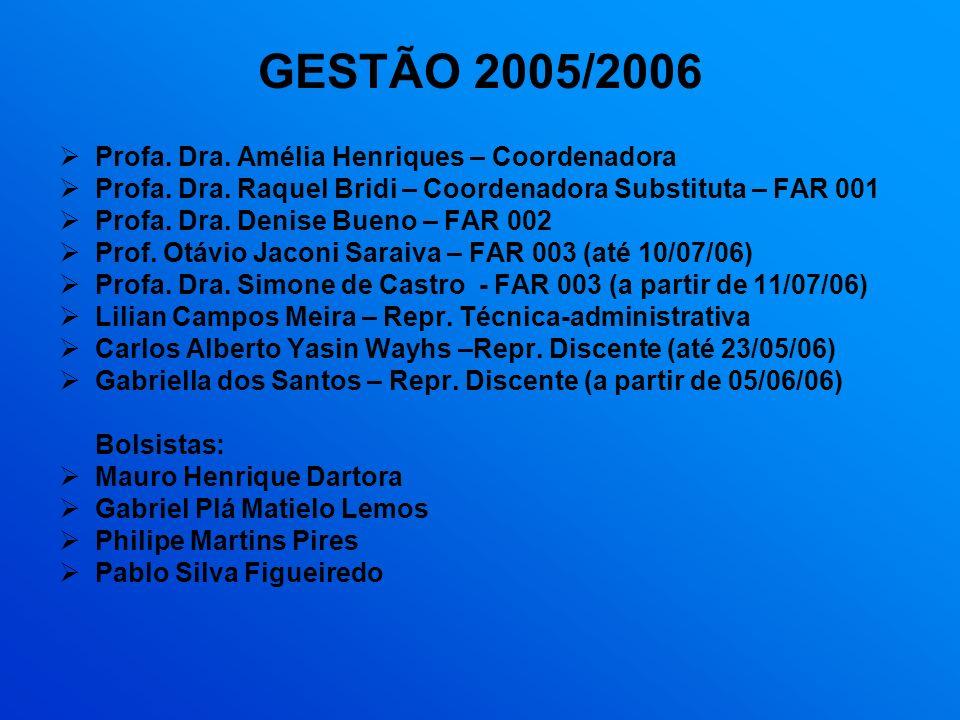 GESTÃO 2005/2006 Profa. Dra. Amélia Henriques – Coordenadora