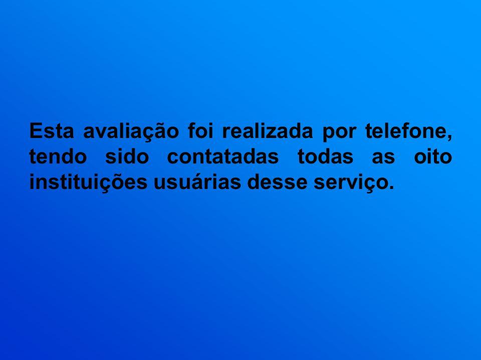 Esta avaliação foi realizada por telefone, tendo sido contatadas todas as oito instituições usuárias desse serviço.