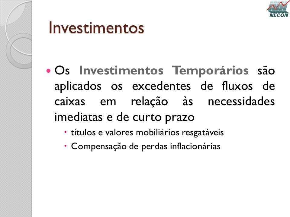 Investimentos Os Investimentos Temporários são aplicados os excedentes de fluxos de caixas em relação às necessidades imediatas e de curto prazo.
