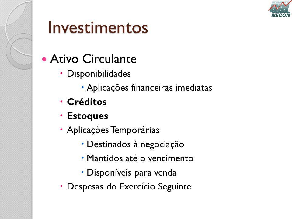 Investimentos Ativo Circulante Disponibilidades