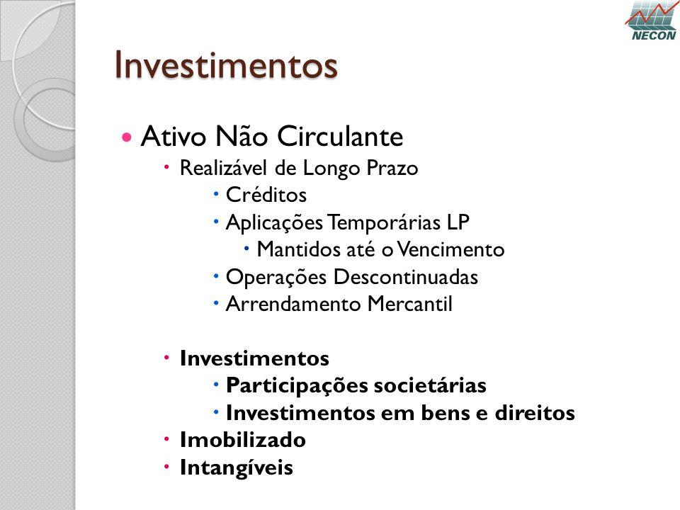 Investimentos Ativo Não Circulante Realizável de Longo Prazo Créditos
