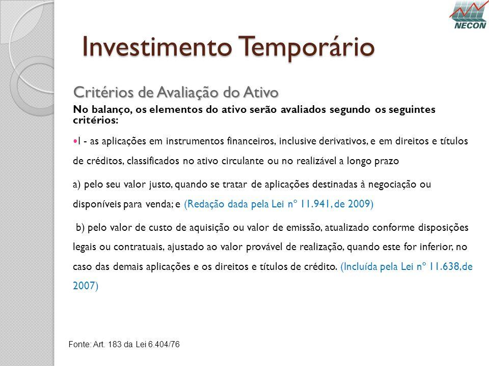 Investimento Temporário