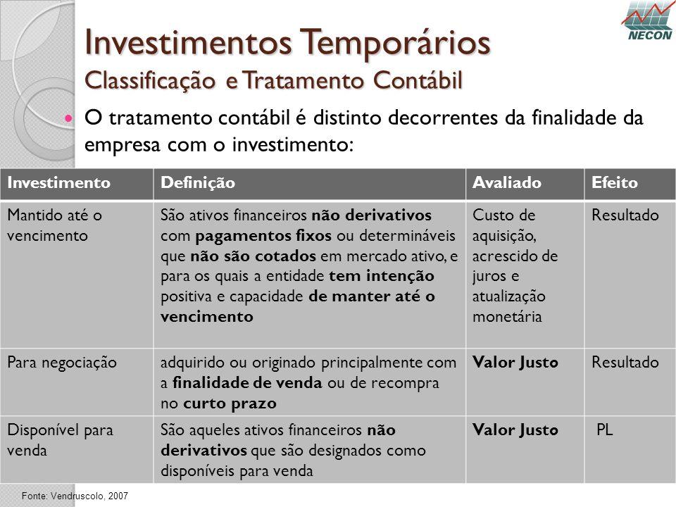 Investimentos Temporários Classificação e Tratamento Contábil