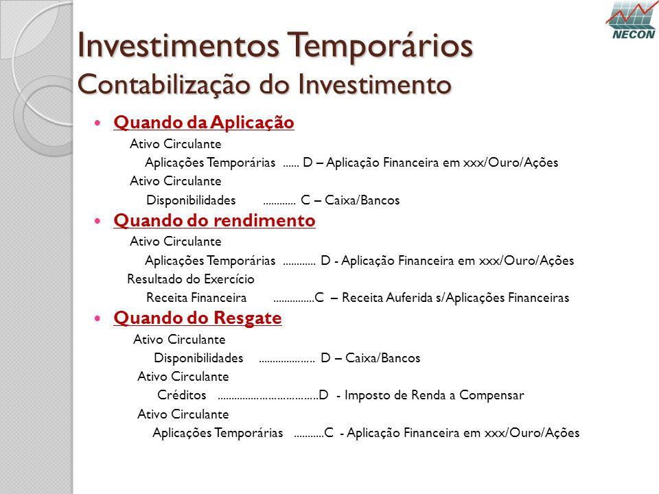 Investimentos Temporários Contabilização do Investimento