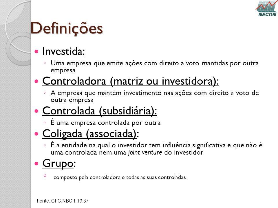 Definições Investida: Controladora (matriz ou investidora):