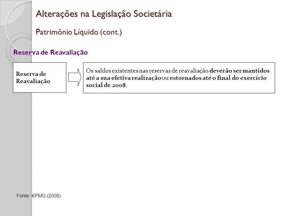 Alterações na Legislação Societária Patrimônio Líquido (cont.)