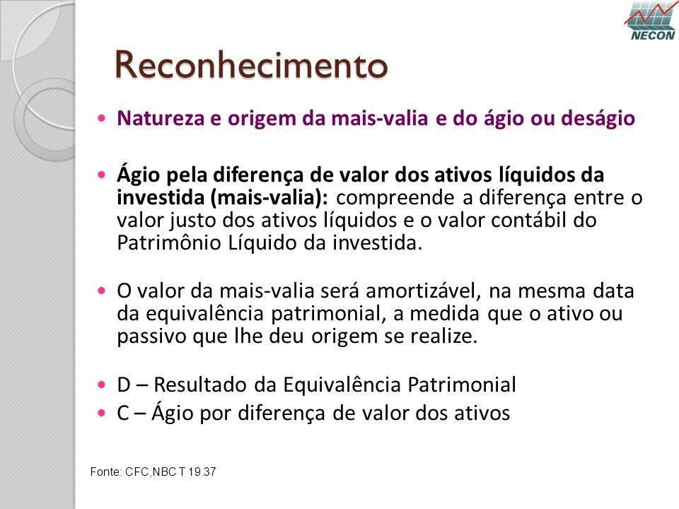 Reconhecimento Natureza e origem da mais-valia e do ágio ou deságio