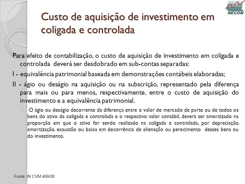 Custo de aquisição de investimento em coligada e controlada