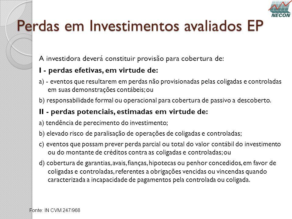 Perdas em Investimentos avaliados EP