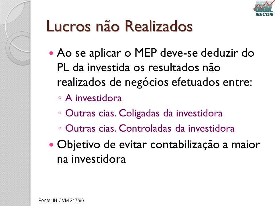 Lucros não Realizados Ao se aplicar o MEP deve-se deduzir do PL da investida os resultados não realizados de negócios efetuados entre: