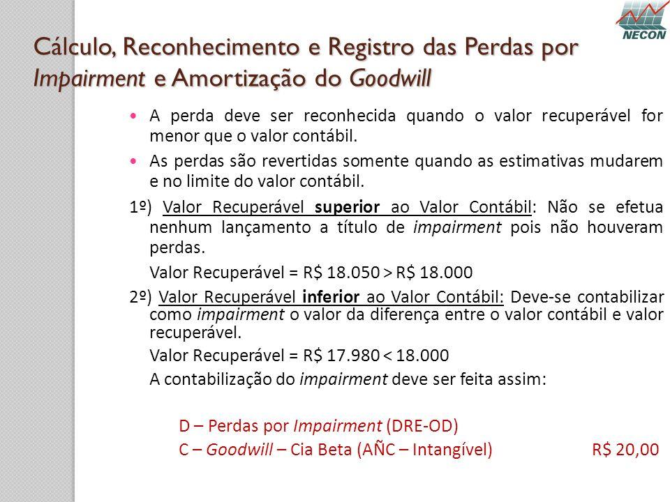 Cálculo, Reconhecimento e Registro das Perdas por Impairment e Amortização do Goodwill