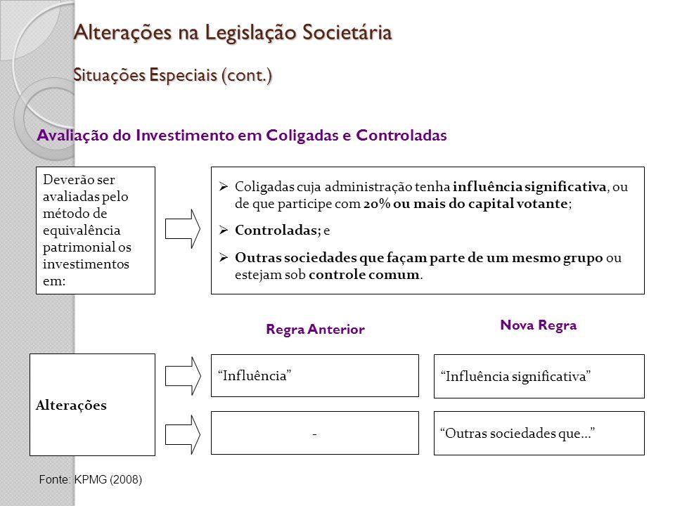 Alterações na Legislação Societária Situações Especiais (cont.)