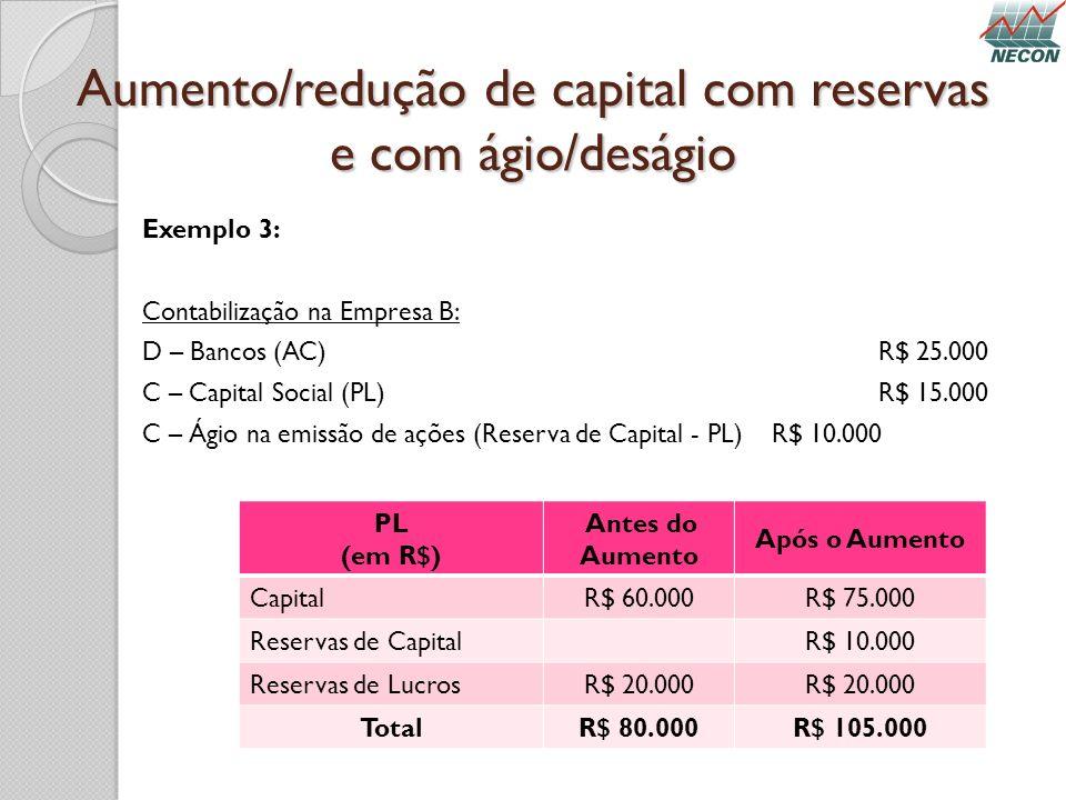 Aumento/redução de capital com reservas e com ágio/deságio