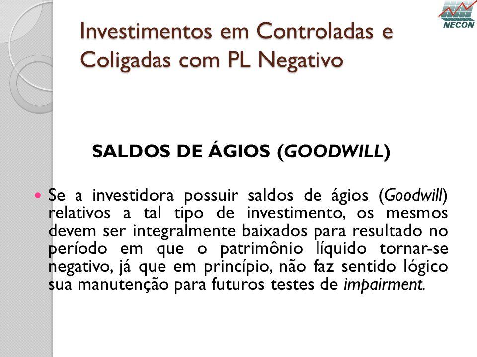 Investimentos em Controladas e Coligadas com PL Negativo