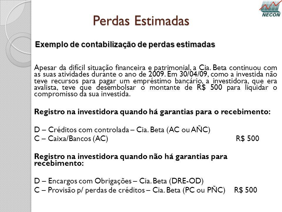 Perdas Estimadas Exemplo de contabilização de perdas estimadas