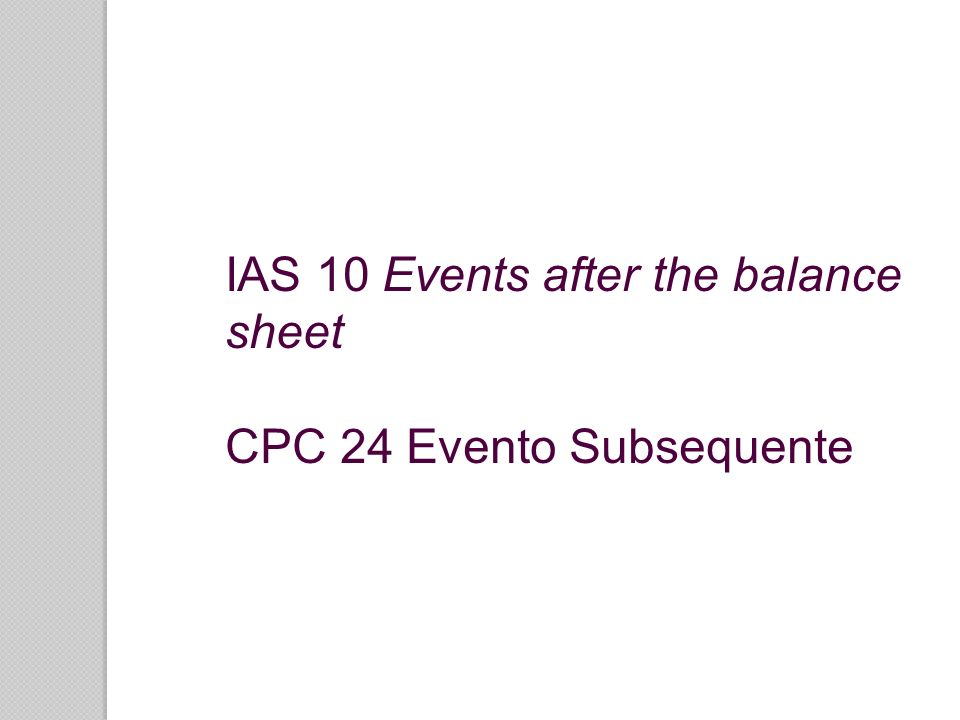 IAS 10 Events after the balance sheet