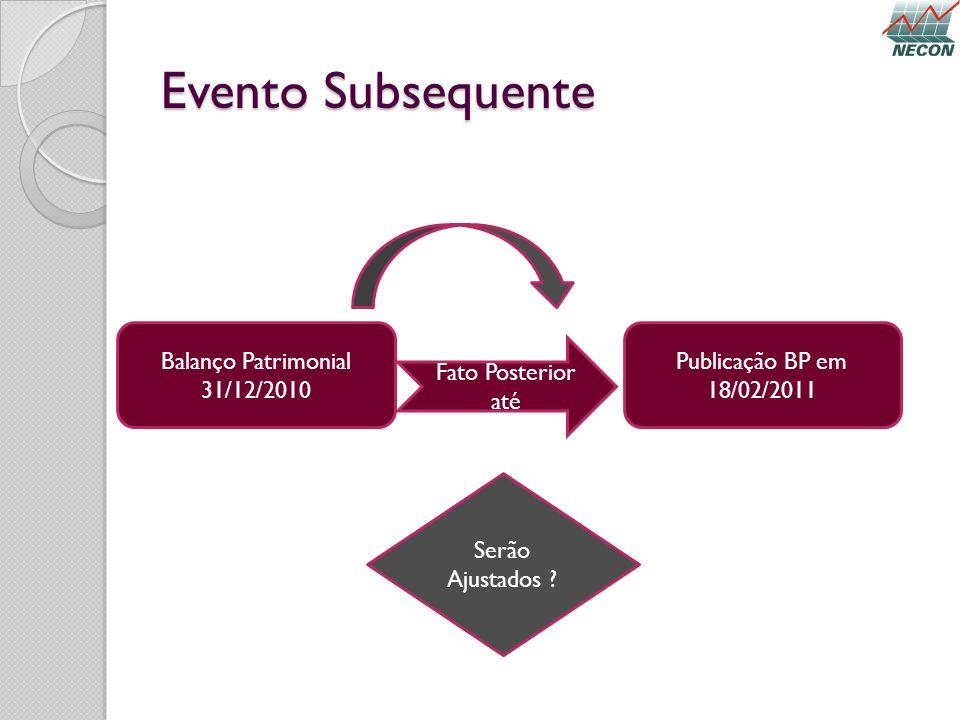 Evento Subsequente Balanço Patrimonial 31/12/2010 Publicação BP em
