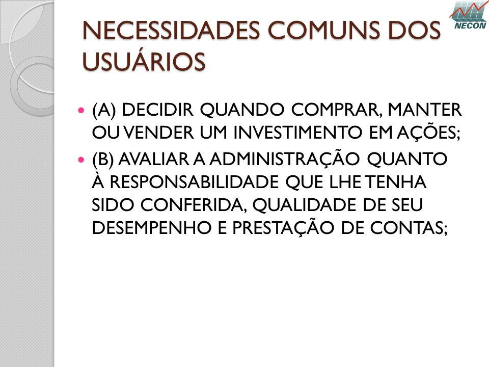 NECESSIDADES COMUNS DOS USUÁRIOS