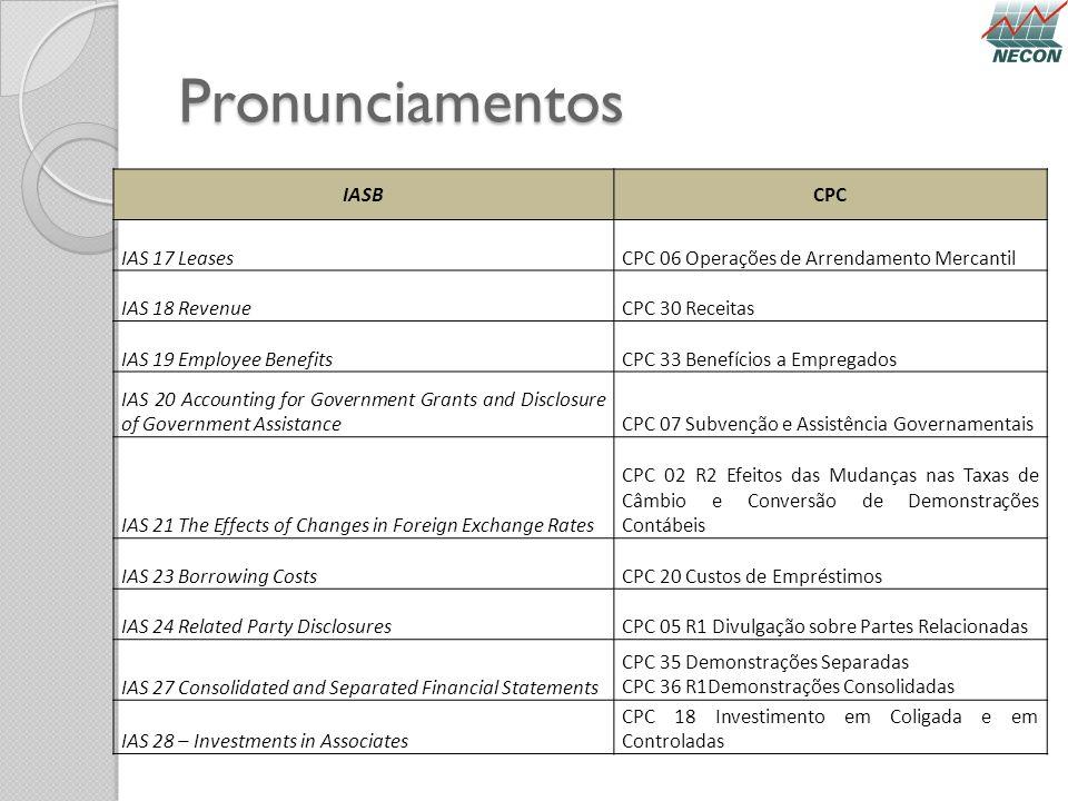 Pronunciamentos IASB CPC IAS 17 Leases