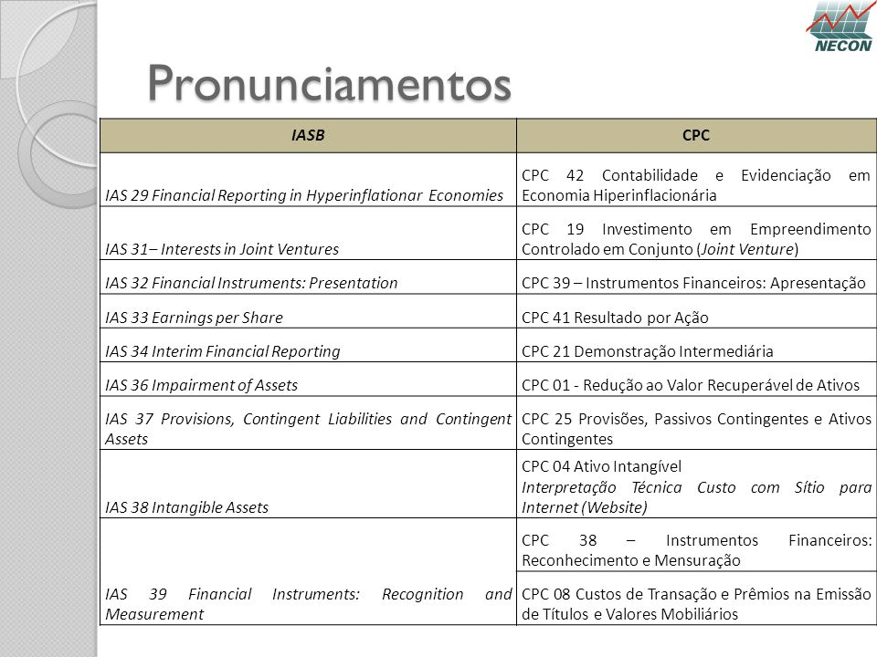 Pronunciamentos IASB CPC