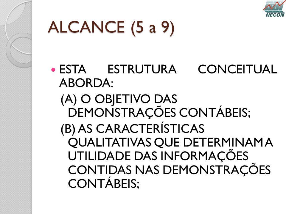 ALCANCE (5 a 9) ESTA ESTRUTURA CONCEITUAL ABORDA: