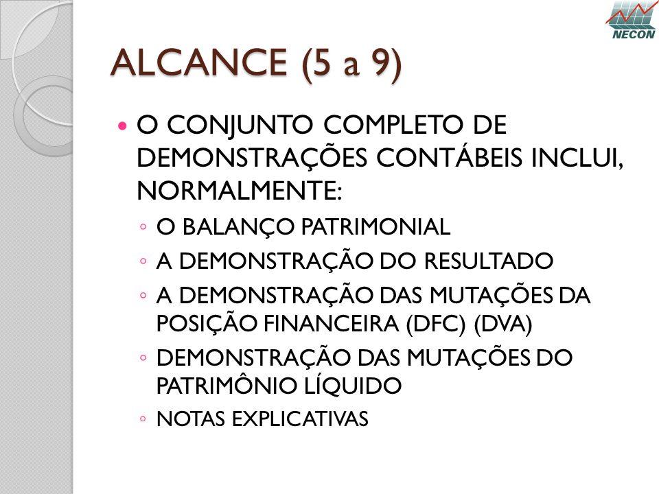 ALCANCE (5 a 9) O CONJUNTO COMPLETO DE DEMONSTRAÇÕES CONTÁBEIS INCLUI, NORMALMENTE: O BALANÇO PATRIMONIAL.