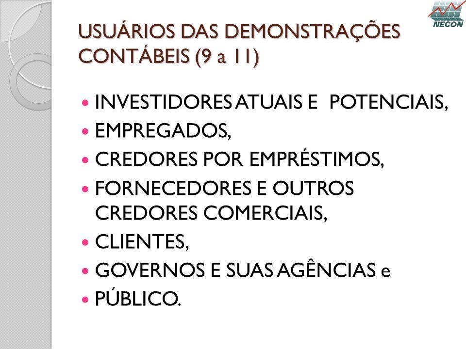 USUÁRIOS DAS DEMONSTRAÇÕES CONTÁBEIS (9 a 11)