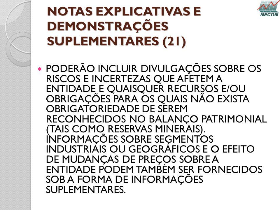 NOTAS EXPLICATIVAS E DEMONSTRAÇÕES SUPLEMENTARES (21)